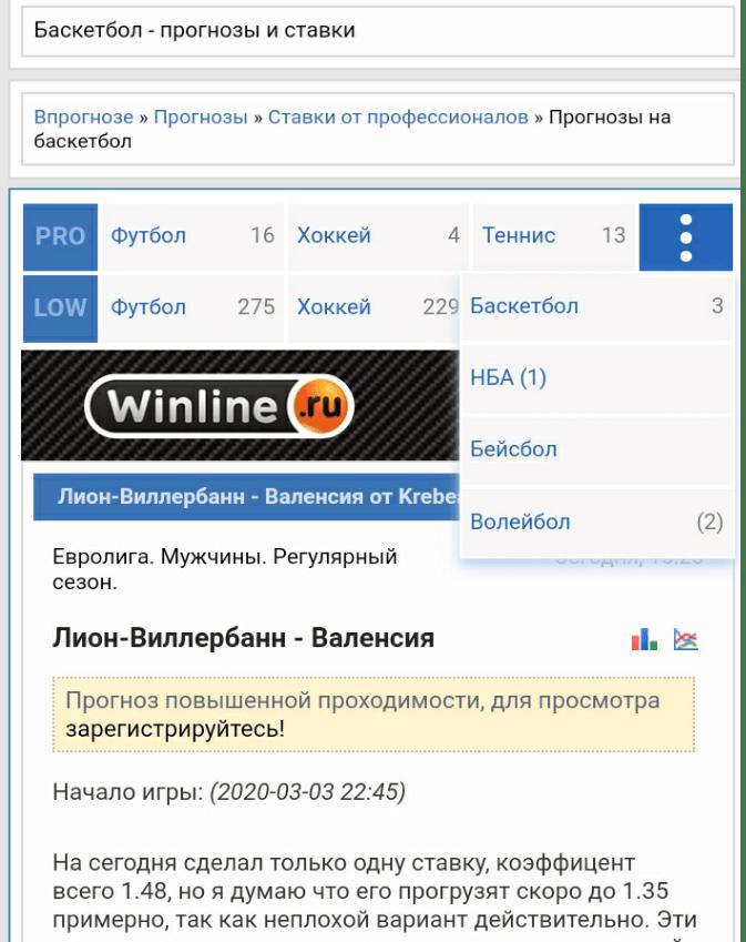 прогноз баскетбольного матча на сайтах