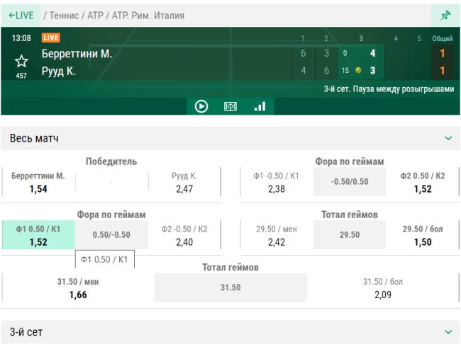 Пример live ставок на теннис в БК ЛИГА СТАВОК