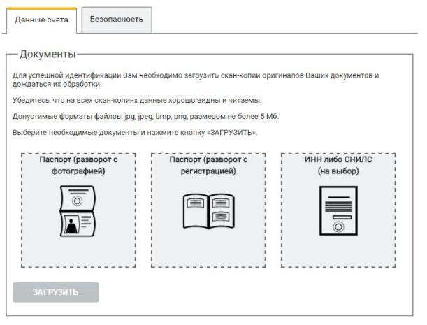 Варианты документов для идентификации