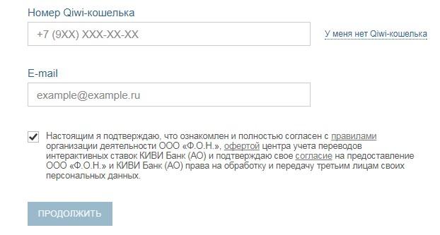 Анкета при регистрации через Киви-кошелек