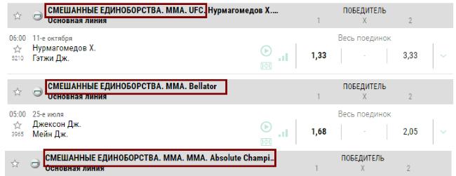 Как делать ставки на MMA в разных турнирах