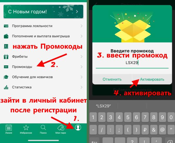 Введение промокодов через мобильное приложение